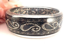 Womens Bracelet Black Shimmer and Gold Glitter Bangle VTG 1980s Fashion Jewelry