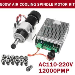 AC110-220V CNC Air Cooling 500W Spindle Motor+Speed Governor+ER11 Spring +Clamp