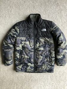 THE NORTH FACE army green camouflage quilted insulate zip boys coat jacket S 7/8