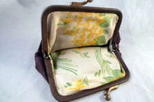 1960s Vintage Nylon Brown Snap Shut Coin Purse Floral Print Inside