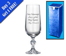 Personalised Engraved Crystal Champagne Flute Birthday Bridesmaid Godmother Gift
