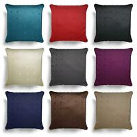 "Faux Silk Cushion Cover Embroidered Plain Cushions Covers 18"" 22"" 9 Colours"