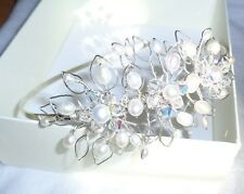 Stunning Hand Made / Crafted Swarovski Crystal & Fresh Water Pearl Side Tiara