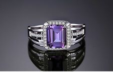 4.9Ct Emerald Cut Purple Amethyst 14k White Gold Over Engagement Ring For Men