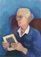 Portrait Frau mit Brille und Buch Lehrerin? Anonym 70er Jahre 70,5 x 50,5 cm