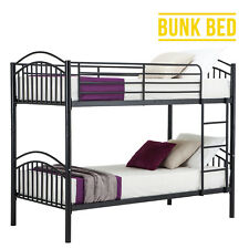 Black 3ft Single Metal Bunk Bed Frame 2 Person Separate Home Bedroom Furniture