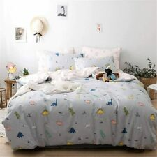 Dinosaur Bedding Twin Cotton Animals Printed Grey Reversible Duvet Cover 3pcs