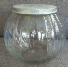 Vintage Hoosier Cabinet Glass Cookie jar W/Lid Wide Ribs