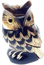 Owl Bird Figurine Sculpture Handcraft Buffalo Horn Home decor collectible Gift