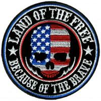 Land of the Free Skull American Flag USA Motorcycle Biker Iron On Patch PPA8060