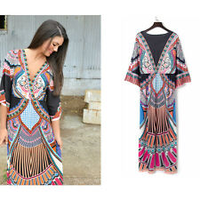 Women's Boho Floral V-Neck Long Maxi Dress Summer Beach Party Thailand's Skirt