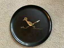 """Couroc Roadrunner Bird Mid Century Inlaid Black Round Tray 10.5"""" Retro vintage"""