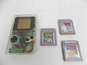 Nintendo Gameboy Game Boy Clear See Through - 3x Games Bundle - Mario Land