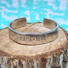 Aluminum Cuff Bracelet Mama Bear Handstamped Stackable
