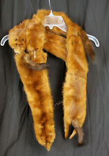 Genuine Vintage Mink Pelt Stole 4 Full Body Real Fur Womens Brown Wrap Shawl