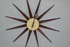 mid century danish modern nelson style sunburst american walnut star wall clock