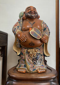 HUGE Antique or Vintage Japanese Kutani Porcelain Buddha Hotei Figure Statue