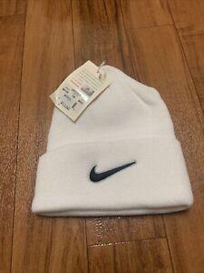 Vintage Nike White Black Check Beanie NWT DeadStock Winter Hat Nike White Tag