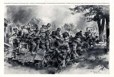 Wehrmacht in Street fight in Kischinew 1941 art print Chisinau Moldavia WW 2 +