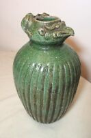 antique 19th century Chinese rat phoenix head green glazed pottery ewer vase jug