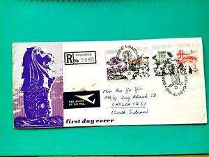 Singapore 1973 Registered mail FDC via Vietnam cover