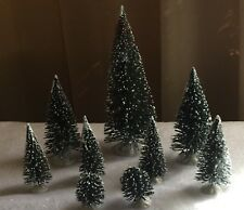 Lot of 9 Snow Covered Pine Trees - Christmas Village Accessories
