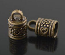 Wholesale30ps Bronze Tibetan Corved End Caps Kumihimo/Ratta?il/Cord 6.5mm Charms