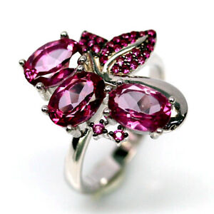 NATURAL AZOTIC PINK MYSTIC TOPAZ & CZ TWO TONE RING 925 SILVER STERLING SZ7.25