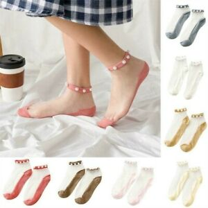 5 Pairs Breathable Women Socks Transparent Lace W/ Pearl Cotton Ankle Socks New