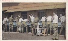 World War 1 Soldiers washing up at Barracks Postcard 1918