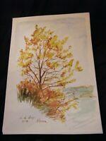 Aquarelle Col de Lessy André Simon 1926-2014 1961 Artiste Lorrain