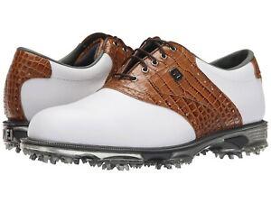 NEW FootJoy DRYJOYS TOUR (53677) White/Brown/Croc Men's Golf Shoes - Choose Size