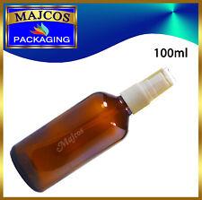 100ml empty Amber Glass Bottles with White Atomiser / Mist spray