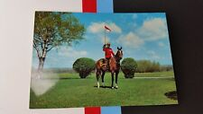Canadian Mountie on horse and Flag pole RCMP Canada  Postcard