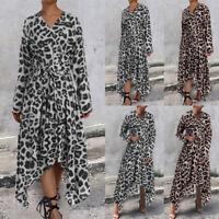 Plus Size Women Long Sleeve Maxi Caftan Kaftan Flared Swing Leopard Print Dress