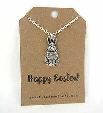 Happy Easter Bunny Rabbit Silver Plated Necklace Message Card Quote Gift