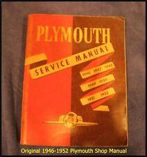1946-1952 PLYMOUTH SERVICE MANUAL 1948-1949 Convertible 1950 Deluxe Suburban