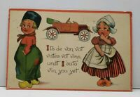 Valentines Greeting Adorable Dutch Children with Car Postcard F20