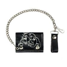 Biker Leather Motorcycle Bull Dog Wallet Tri-Fold - USA MADE