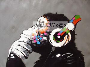 "Canvas  Street Art Print DJ Monkey Chimp Painting 63"" X 36"""