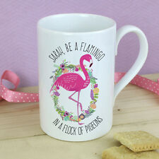 Personalised Pink FLAMINGO Mug Birthday Christmas Gift