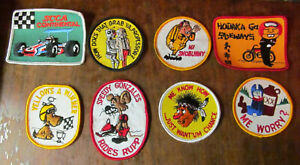 LOT of 8 Vintage 70's Retro Snowmobile Racing Funny Crude Winter Sew-On Patches