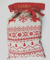 Personalised Embroidered Hessian Christmas Sack Nordic Style Large Xmas Stocking