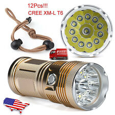 30000LM LED 12 x CREE XM-L T6 Flashlight Torch 4x 18650 Hunting Light Lamp Lot