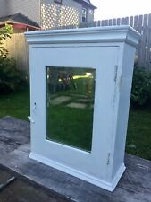 Antique Medicine Cabinet 19 Century Bevel Glass Mirror Old White Paint Nice Look