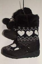 NWOT Toddler Girls 9 Black Ivory Gray Fairisle Heart Sweater Knit Fashion Boots