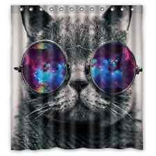 Hipster Nebula Galaxy Glass Cat Polyester Waterproof Bath Shower Curtain 66 x 72
