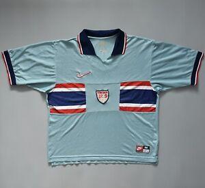 Vintage 1995 USA Soccer Football Jersey Shirt Third Kit Signature Worn Pilling