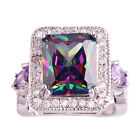 Square Rainbow & White Topaz Amethyst Gemstones Silver Ring Size 6 7 8 9 10 11