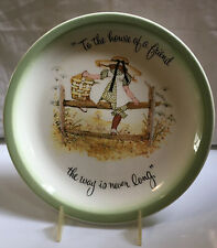 HOLLY HOBBIE LARGE PLATE MADE IN USA girl with picnic basket on post & rail